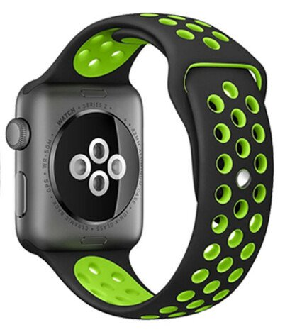 Curea iUni compatibila cu Apple Watch 1/2/3/4/5/6, 42mm, Silicon Sport, Black/Green